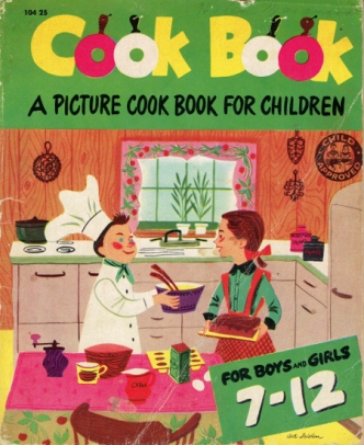 Note, the boy is wearing a chef's coat and hat. This will become a theme.